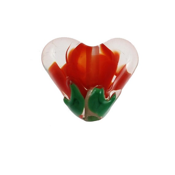Flaming Lotus Heart - Glass Lampwork Red Flower Heart Bead