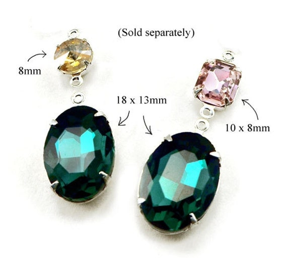 emerald green oval glass gems with pink glass octagons and colorado topaz glass rivolis