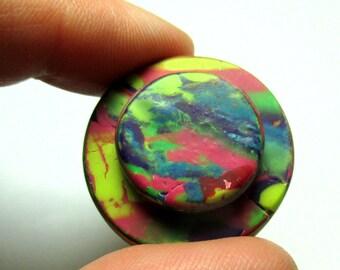 Handmade Button - Double Decker Polymer Clay