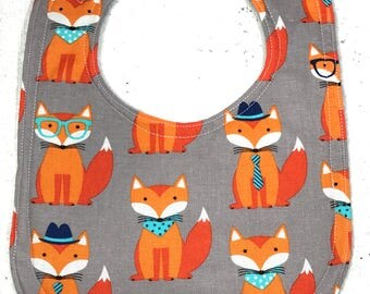 Baby Bib - Fox - Animal Infant Bib - Baby Shower Gift - Handmade