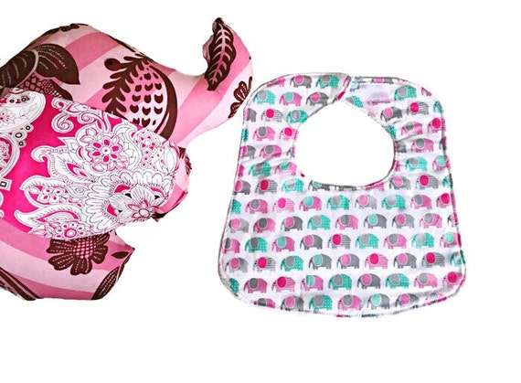 Elephants Baby Girl Bib, Pink Baby Bib, Handmade Infant Bibs, Drool Bib