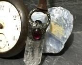 Ancient- crackle quartz garnet black star diopside