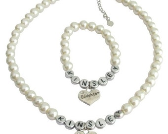 Flower Girl Jewelry Pearl Necklace Bracelet Set Jewelry for little girls Gift Jewelry Daughter/Sisters gift, Name Jewelry,Free Shipping USA
