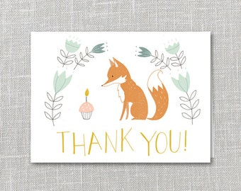 Birthday Thank You Notecard Instant Download PDF