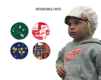 Custom baby hat choose Red Wings, Tigers, MSU, UM fabric, Detroit sports, hockey, Wings Tigers fan gift, Michigan sports gift, baby gift