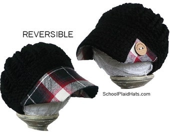Plaid hat with fabric brim - reversible - tartan plaid fabric brim hat wholesale hats girlfriend gift for her teen gift winter hat