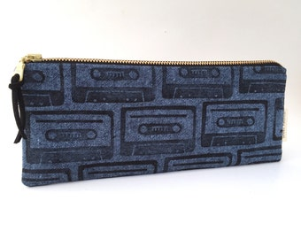 mix-tape block printed pencil pouch