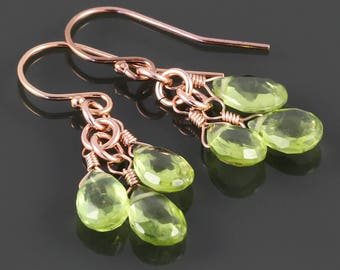 Peridot Cluster Earrings. 3 Stones. Rose Gold Filled Ear Wires. Genuine Gemstone. August Birthstone. Greenery. f17e028