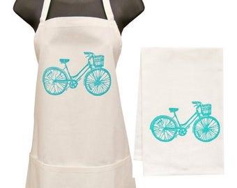 NEW ROOF SALE blue bike apron and towel set