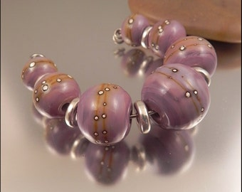 Ginnovations lampwork, Silvered Lilac bead set (7 beads)