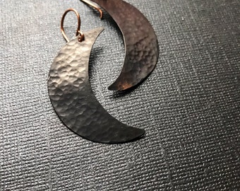 Crescent Moon Earrings - Oxidized Copper