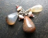 Banded Agate Teardrops, Mystic Peach Moonstone and Faceted Brown Quartz Pendant - 30mm in length