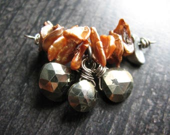 Faceted Natural Golden Pyrite Briolette Charms and Cornflake Pearl Pendant Connector