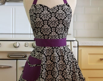 The BELLA Vintage Inspired Black and White Floral Damask with Purple Full Apron