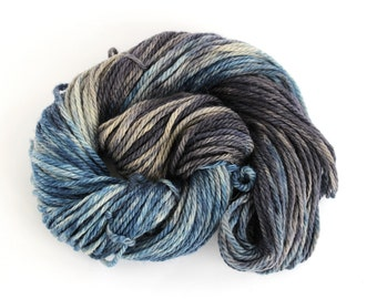 Chunky merino wool, superwash bulky handdyed knitting crochet yarn, variegated Perran Yarns, Ink, uk yarn skein hank, dark blue steel grey