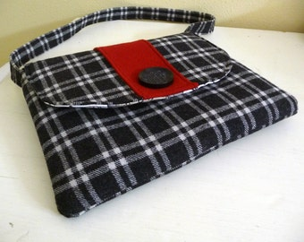 Black and Cream Plaid Wool Retro Inspired Shoulder Bag Purse can fit iPad tablet