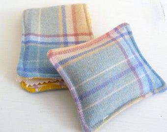 Yellow Plaid Wool Needle Case and Pincushion, matching set
