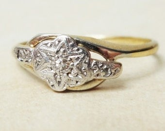Art Deco Twist Over Starburst Flower Ring, Vintage 18k Gold, Platinum and Diamond Engagement Ring, Approx Size 8.25