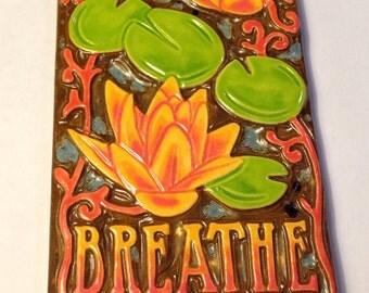 Breathe Lotus Pond Art Tile