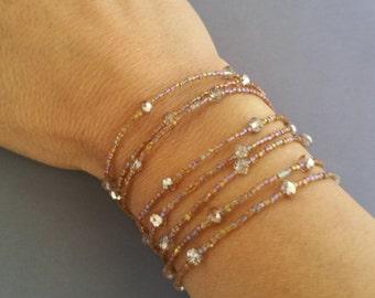Beaded Wrap Combination Bracelet and Necklace, wrap bracelet, beaded necklace , lariat,Tassle, long necklace, bracelet
