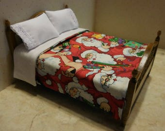 Free US Shipping! Miniature Christmas Santa Claus Dollhouse Mini Bedspread and Pillows #6368