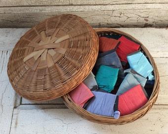 Seam binding lot,vintage sewing basket,66 pieces with 4 yards on each,264 yards,rayon seam binding,vintage basket,sewing basket