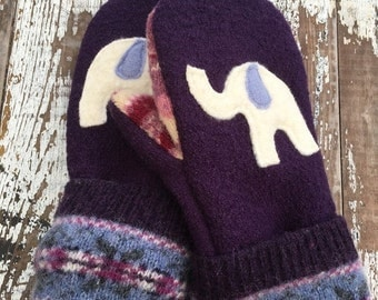 SALE- Upcycled Felted Wool Mittens- Ellie Elephant-purple -Womens