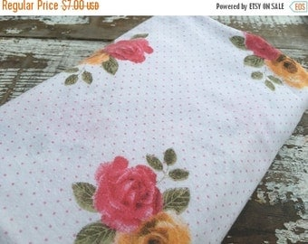 SALE- Pink and Orange Floral Fabric--Reclaimed Bed Linen Fabric-
