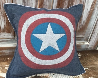 40% OFF- Captain America Shield-Comic- Throw Pillow--Upcycled Eco Friendly-Quilted