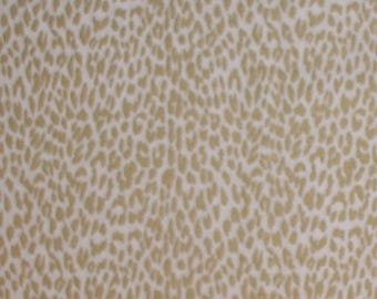White Leopard Fabric Metallic Gold Animal Spots Quilting Weight Cotton