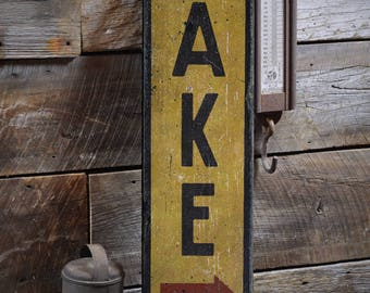 Lake Directional Sign, Wooden Lake Sign, Lake House Decor, Lake Lover Gift, Lake Arrow Sign, Rustic HandMade Vintage Wooden Sign ENS1001855
