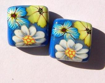 Spring Flowers Handmade Artisan Polymer Clay Bead Pair