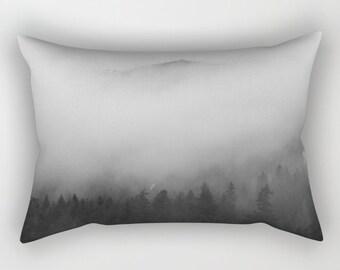 Lumbar Pillow | Rectangle Pillow | Photo Pillow | Black and White Pillow | Mt Rainier National Park | Photography | Pine Trees | Landscape |