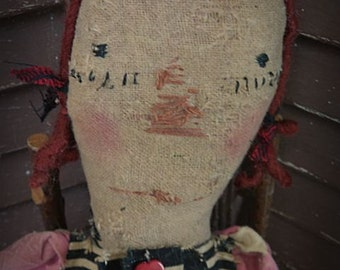 Very Primitive, Valentines Day, Red, White, Pink, Heart, Raggedy Ann, Doll by Mustard Seed Originals