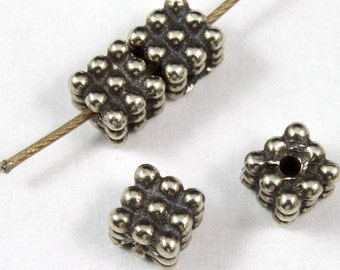 4mm Antique Silver Tierracast Pewter Beaded Cube Bead #CKA108