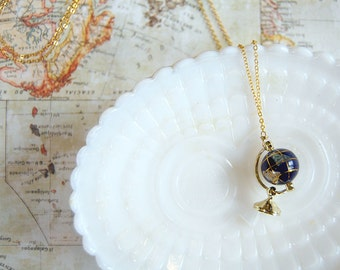 tiny globe miniature necklace- gold plate chain- dollhouse- traveler
