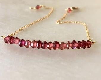 Dainty Bracelet, Pink Tourmaline Bracelet, Gemstones Bracelet, Beads Bracelets, Tennis Bracelet, Gemstones Bar Bracelet