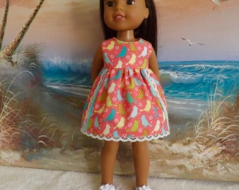 14 and 14.5 Inch Doll Clothes Dress Cute Colorful Birds on a Coral Pink Background Fits Dolls like H4H and Wellie Wishers