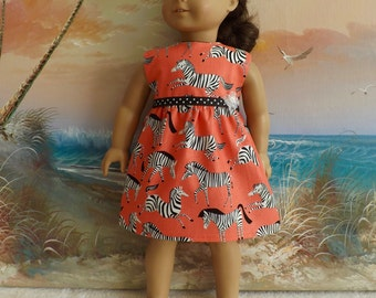 "18"" Doll Dress Zebras on an Orange Background NEW Item Will Fit Like AG"