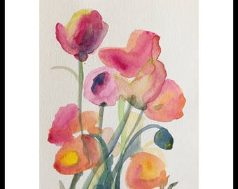 watercolor flower painting poppy painting 6x8 original painting pink orange yellow pink watercolor