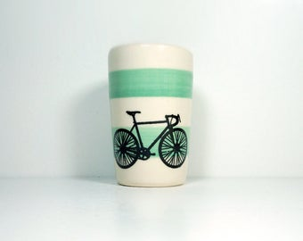 itty bitty cylinder / vase / cup with a Road Bike print on Blue Green stripes, Made to Order / Pick Your Colour / Pick Your Bike