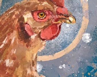Chicken Head #10 - original painting by Andrew Daniel