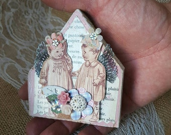 Shabby chic home decor wood house with vintage babies assemblage vintage