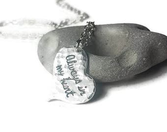 Always in my Heart  Silver Heart Necklace, Mother Daughter Necklace, Wedding Necklace, Prom Jewelry, Personalized Heart Necklace