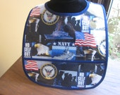 WATERPROOF WIPEABLE Baby to Toddler Wipeable Plastic Coated Bib United States Navy
