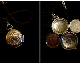 Vintage Silver 4 Picture Locket Necklace - Love in Four Chambers