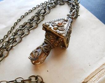 vision spell - bohemian art nouveau filigree antique repurposed necklace crystal pendulum pendant occult necklace art deco amber pendant