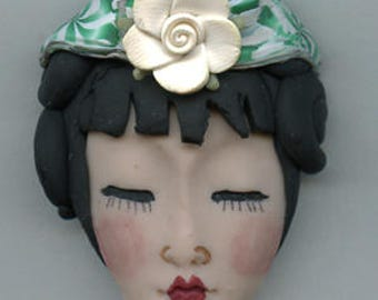 Polymer Clay OOAK   Detailed Asian  Art Doll Face with Hair Cab  AWHR 2