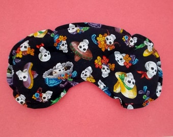 Stress, Sinus Congestion and Headache Relief Mask - Day of the Dead Pattern Cotton Fabric - Drug-free Relief and Relaxation