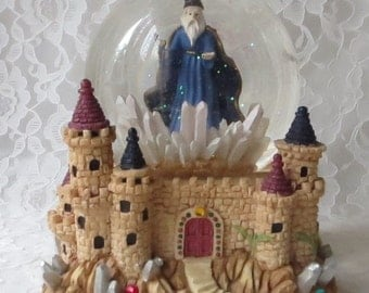 Vintage Sankyo Wizard Music Globe Box Plays Camelot, Merlins Castle, Crystal Points